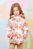 Куртка-жилет демисезонная для девочки яркой весенней расцветки Цветы р. 110-128