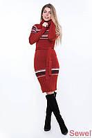 Теплое зимнее вязаное платье