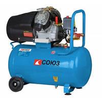 Воздушный компрессор 2,2кВт, 50л, 2 цилиндра Союз