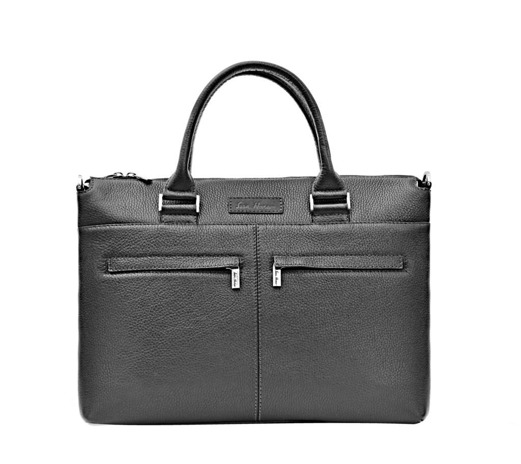 Кожаная деловая сумка Issa Hara B2 черная