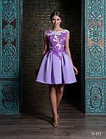 Очаровательное вечернее платье А-силуэта с шикарным V-образным вырезом на спине