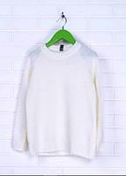 Вязаный белый свитер для девочки 128-152