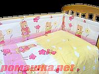 """Защита (ограждение, бортики, охранка, бампер) """"Мишка садовод"""" на всю кроватку из двух частей, 360х35 см Розовый"""