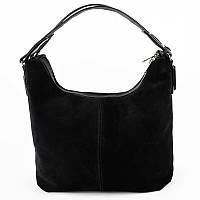 Замшевая черная сумка мягкий овальный шоппер с ручкой