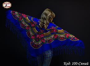 Чарівна українська хустка синя Квітучий сад, фото 3