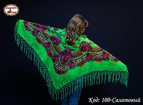 Украинский салатовый платок Цветущий сад, фото 3