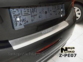 Накладка на задний бампер с загибом Peugeot 208  с -2013 г.