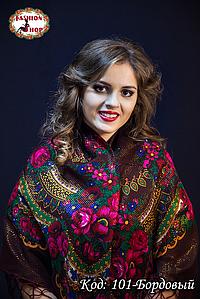 Украинский бордовый платок с люрексом Вишенька