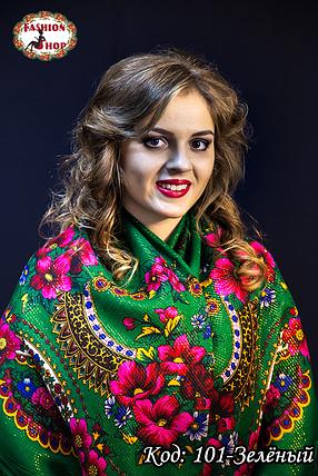 Зелена народна хустка с золотистою ниткою Вишенька, фото 2