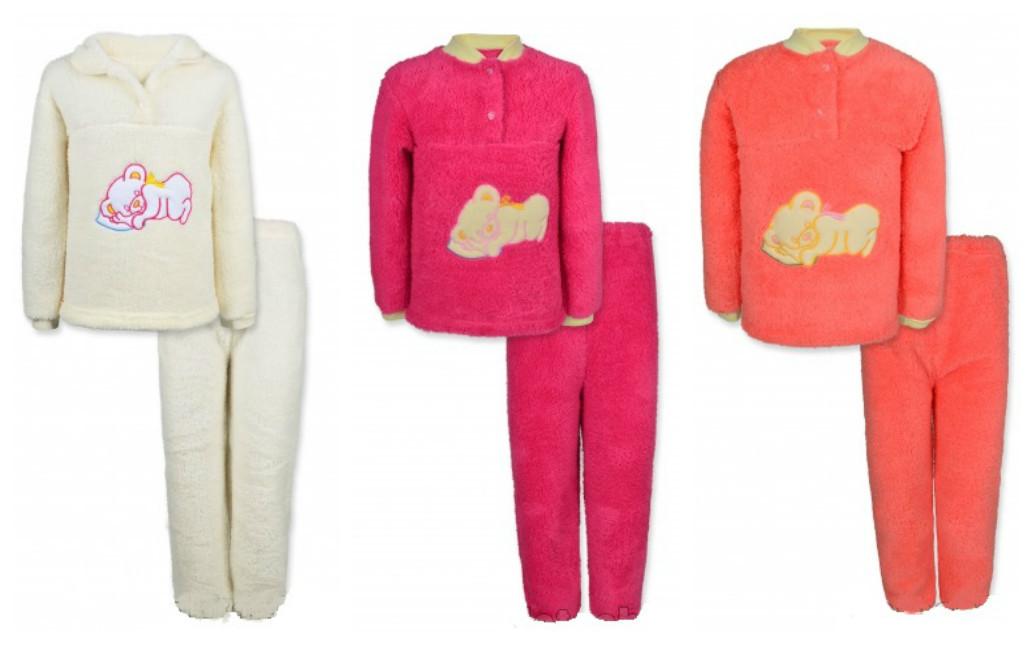 Зимняя детская пижама на девочку МИШКА рваная махра, 110,128