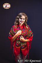 Червона українська хустка з парчою Вишенька, фото 3