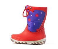 Детские теплые, не промокаемые дутики-сноубутсы девочкам на осень зиму и весну р.27-35 красные