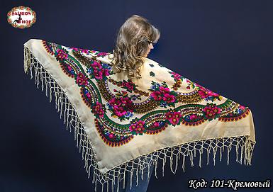 Платок кремовый с парчою в украинском стиле Вишенька 110см