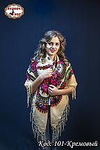Платок кремовый с парчою в украинском стиле Вишенька 110см, фото 2