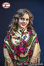 Платок кремовый с парчою в украинском стиле Вишенька 110см, фото 3
