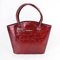 Красная сумка корзина лаковая женская дамская фактурная