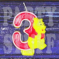 Cвеча на торт цифра Винни Пух 3