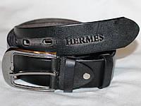 Пояс Ремень КОЖА HERMES 110*4 см Черный Терка