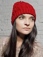 Шапка женская Альпака красная 049-red