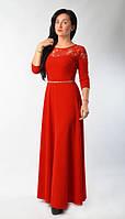 Вечернее женское платье в пол красного цвета