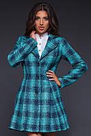 """Расклешенное однобортное пальто в клетку """"Шерил"""" с карманами (3 цвета)"""