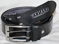Пояс Ремень КОЖА ARMANI 110*4 см Черный Терка