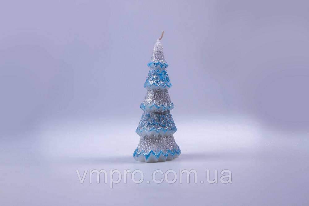 Свечи декоративные, новогодние Елочка, голубая с блестками h-155 мм