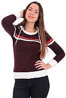 Женская кофта цвета бордовый меланж с длинным рукавом и капюшоном.