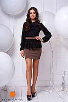 Короткая юбка с кружевной баской