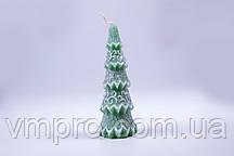 Свечи декоративные, новогодние Елочка, зеленая с блестками h-155 мм