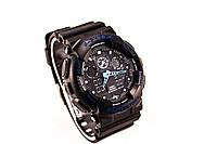 Мужские часы Casio G-Shock GA-100-1A1ER Черные + синий (копия бренда)