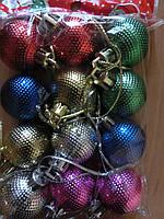 Новогодние украшения игрушки на елку 12шт D3 см