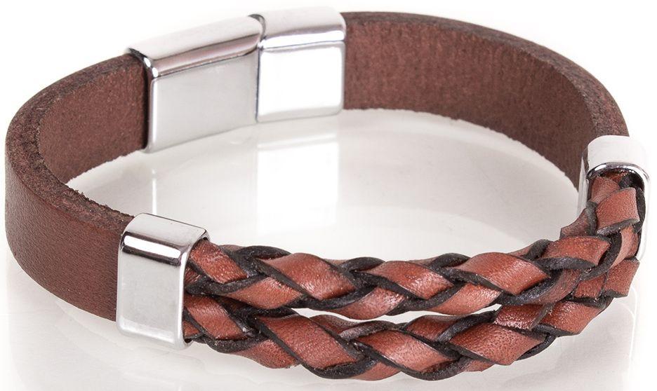 Стильный кожаный браслетDERIBILEKLIK(ДЕРИБИЛЕКЛИК) SH10049-3, коричневый