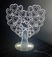 3D Светильник в виде Сердца Love Tree Ночник Оптический обман