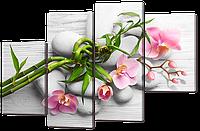 Модульная картина Розовые орхидеи на сером 126* 82,5 см Код: w7338