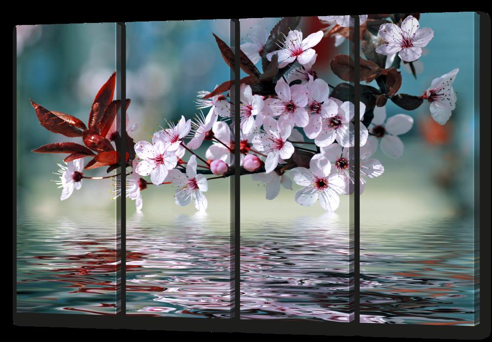 Модульная картина Ветка вишни отражение 94* 64 см Код: w6537