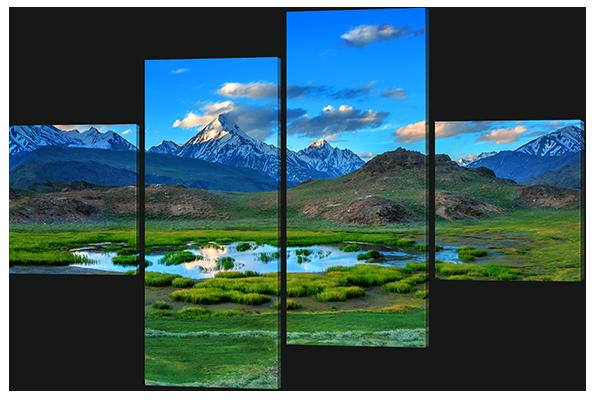 Модульная картина Небольшое озеро и горы 166* 114 см Код: w6272