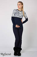 Брюки-лосины теплые для беременных Carly теплые р. 44-50 ТМ Юла Мама темно-синий TR-46.152