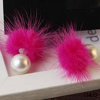 Серьги с мехом норки двухсторонние розовые, фото 1