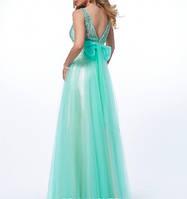 DL-58199 Длинное бальное платье в пол бирюзового цвета из шифона и гипюра
