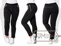 Женские батальные штаны из трикотажа на меху