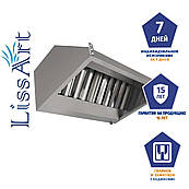 Зонт кухонный вытяжной пристенный из оцинкованной стали с жироулавливающим фильтром
