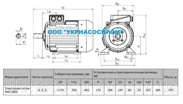 Электродвигатель 4АМ 280 S6 75 кВт 1000 об/мин