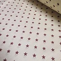 Ткань с коричневыми звёздочками на кремовом фоне №319