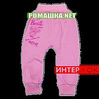 Штанишки на широкой резинке р. 74 демисезонные ткань ИНТЕРЛОК 100% хлопок ТМ Алекс 3297 Розовый