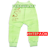 Штанишки на широкой резинке р. 80 демисезонные ткань ИНТЕРЛОК 100% хлопок ТМ Алекс 3297 Зеленый