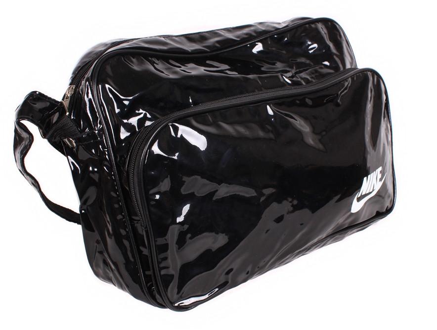 Спортивная сумка Nike лакированная через плечо формат а4 черная