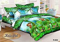 Детский комплект постельного белья 3D полуторный, ранфорс 100% хлопок. Хороший динозавр. (арт.6435)