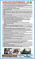 Стенд. Охрана труда при производстве консервов из рыбы и морепродуктов. (Рус.) 1,0х0,6. Пластик