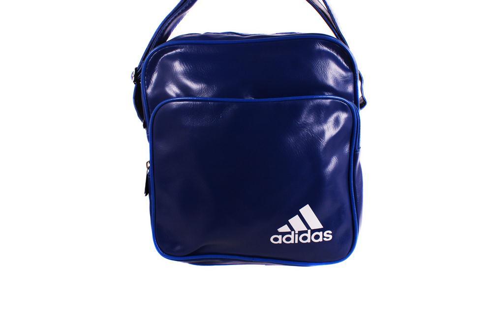 Спортивная сумка Adidas лакированная через плечо синяя